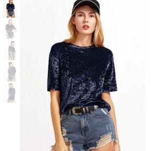Tops - NWOT Crushed Velvet T-Shirt in Light Blue